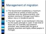 management of migration