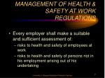 management of health safety at work regulations