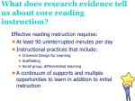 what does research evidence tell us about core reading instruction