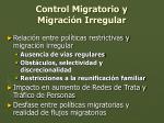 control migratorio y migraci n irregular