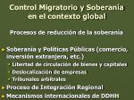 control migratorio y soberan a en el contexto global