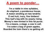 a poem to ponder