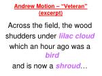 andrew motion veteran excerpt