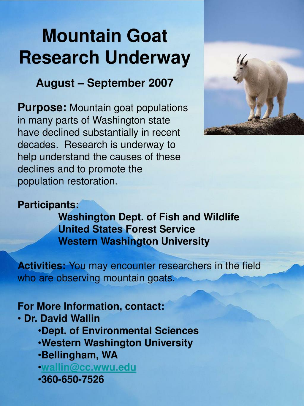 Mountain Goat Research Underway