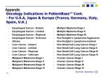 oncology indications in patientbase cont for u s a japan europe france germany italy spain u k