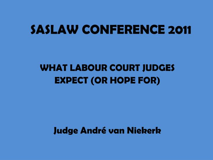 what labour court judges expect or hope for judge andr van niekerk n.