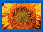 never stop asking why or how