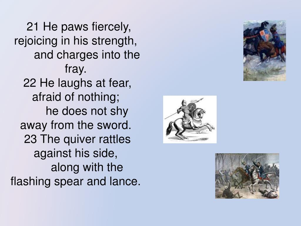 21 He paws fiercely, rejoicing in his strength,