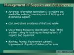 management of supplies and equipment
