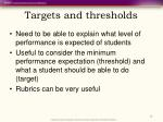 targets and thresholds