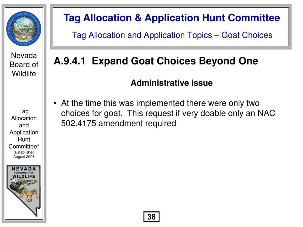 A.9.4.1  Expand Goat Choices Beyond One