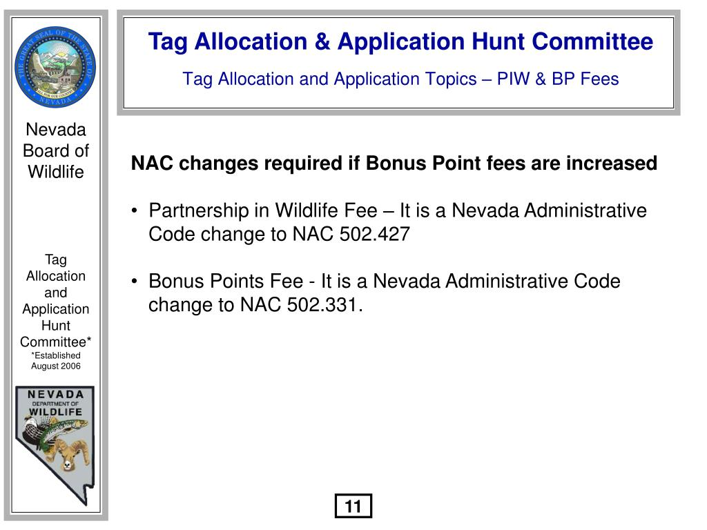 NAC changes required if Bonus Point fees are increased
