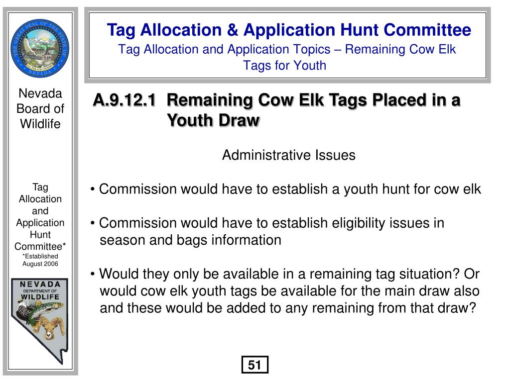 A.9.12.1  Remaining Cow Elk Tags Placed in a