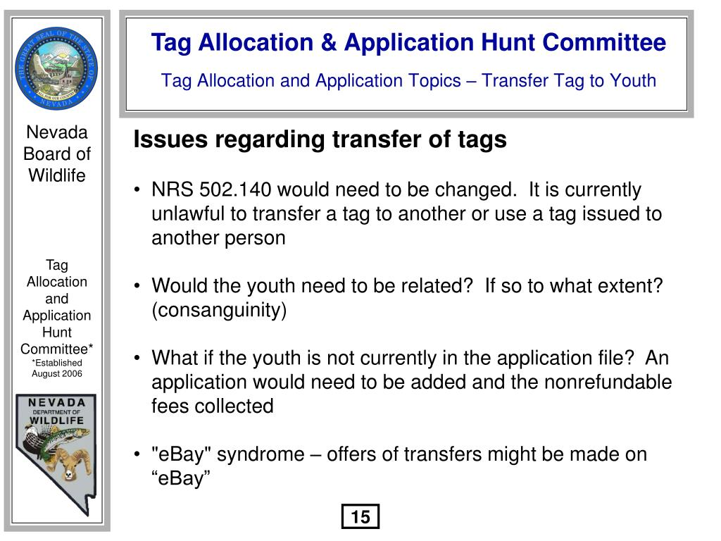 Issues regarding transfer of tags