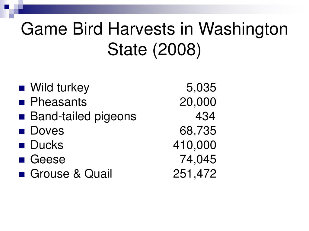 Game Bird Harvests in Washington State (2008)