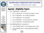 tag allocation and application topics agenda