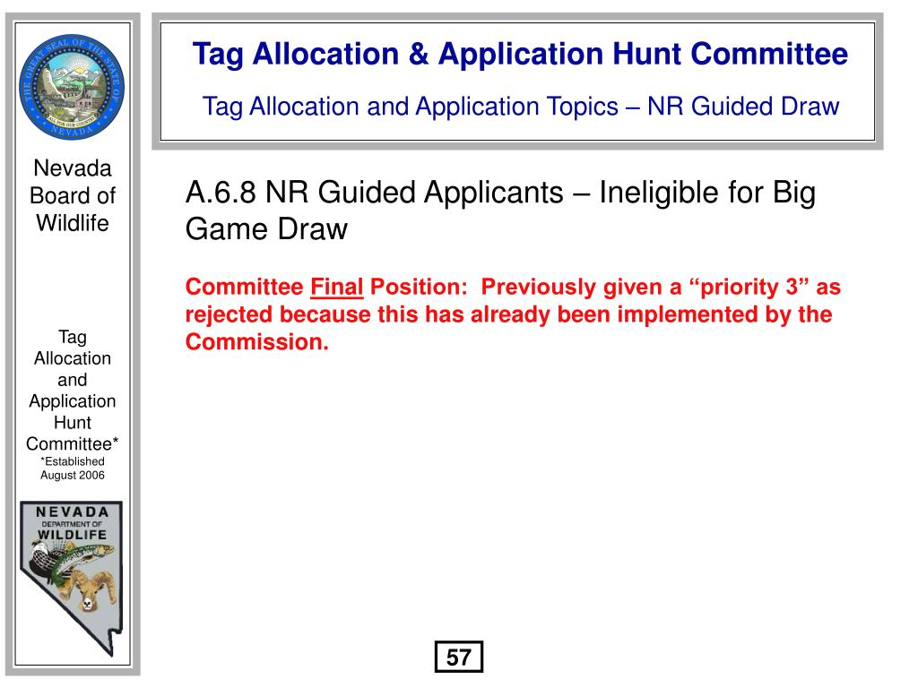 A.6.8 NR Guided Applicants – Ineligible for Big Game Draw