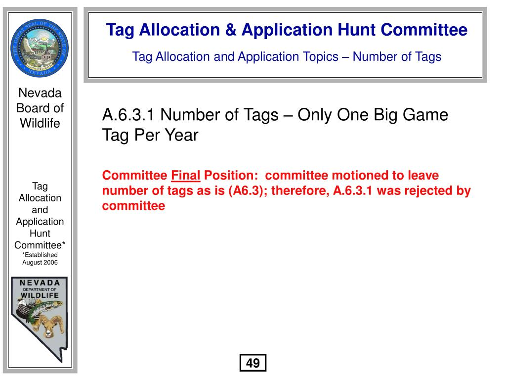 A.6.3.1 Number of Tags – Only One Big Game Tag Per Year