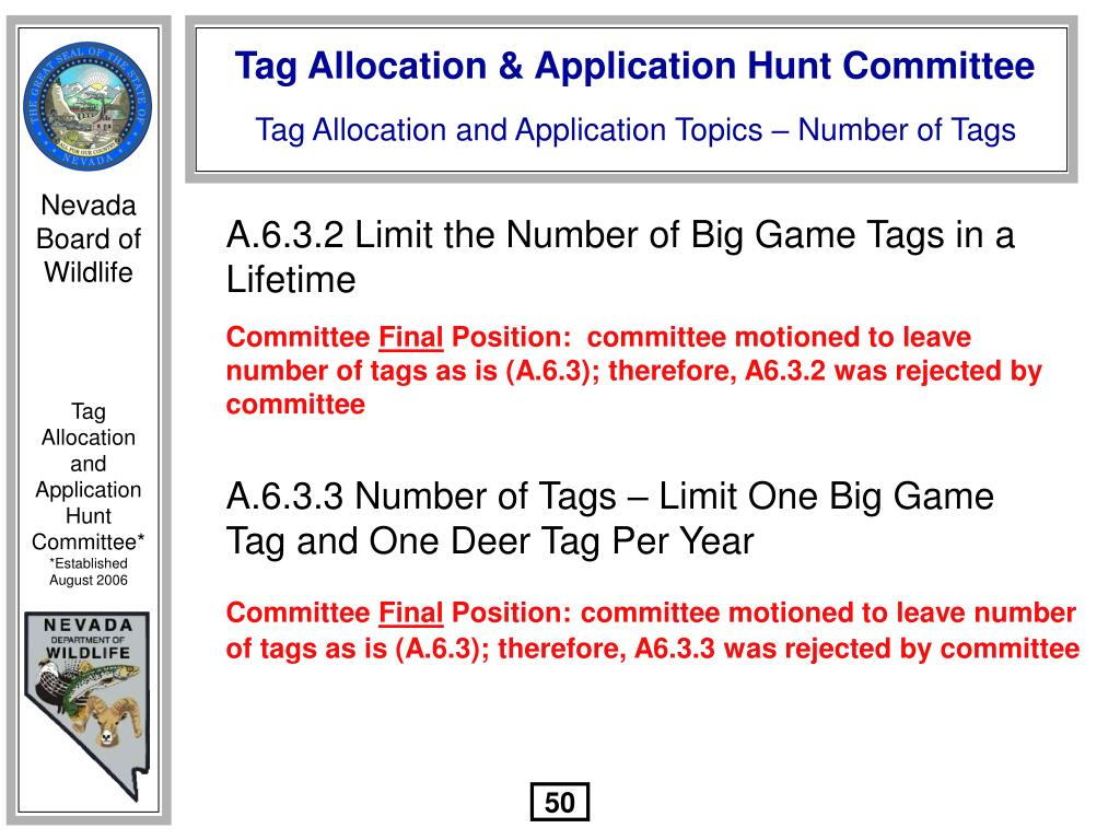 A.6.3.2 Limit the Number of Big Game Tags in a Lifetime