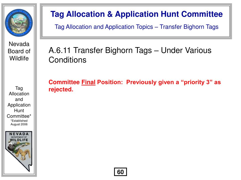 A.6.11 Transfer Bighorn Tags – Under Various Conditions