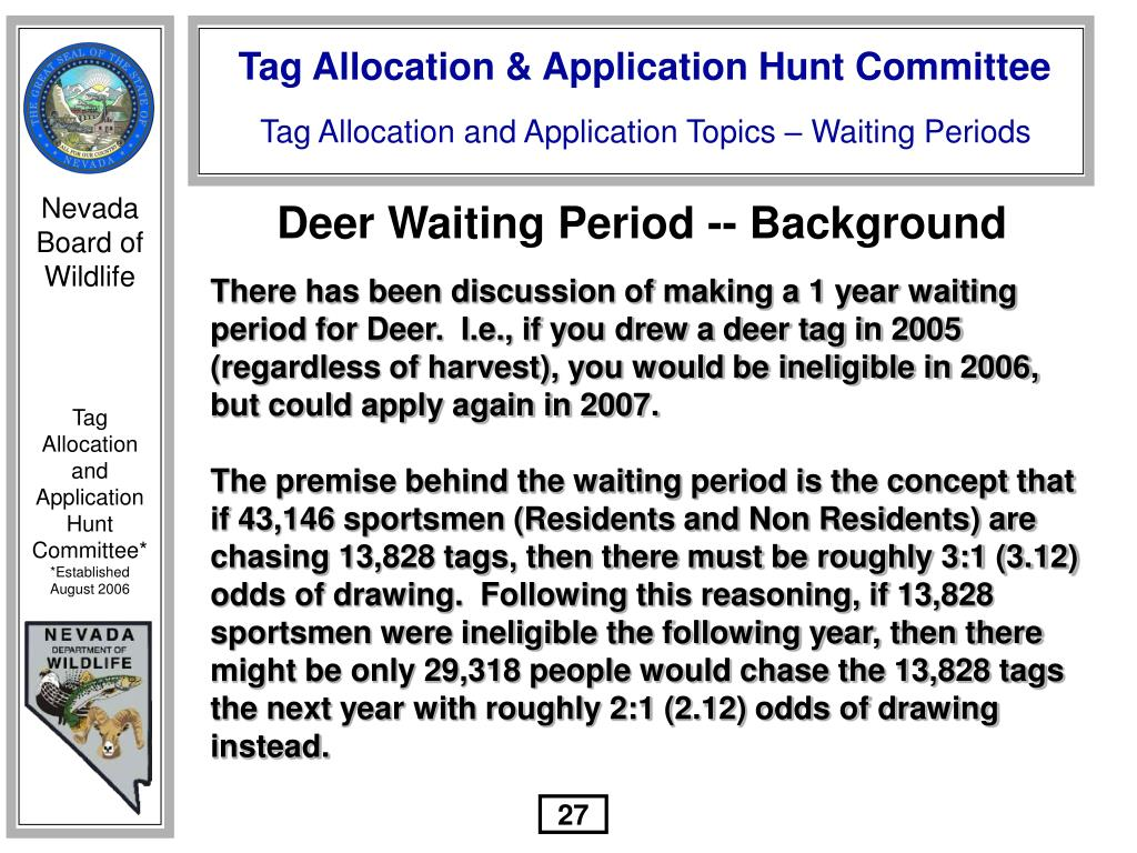 Deer Waiting Period -- Background