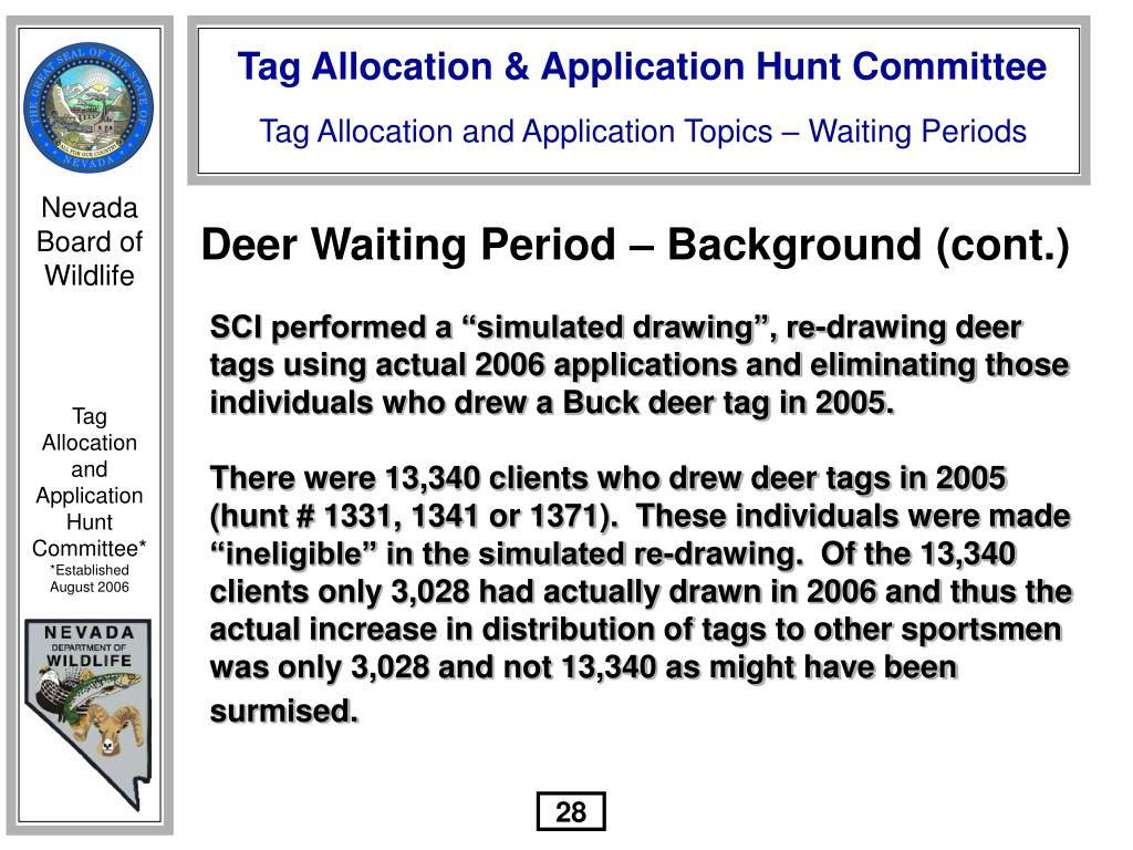 Deer Waiting Period – Background (cont.)