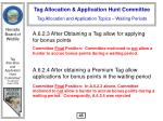 tag allocation and application topics waiting periods46