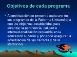 objetivos de cada programa