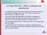 le projet pni otc pde ii indicateurs de performance