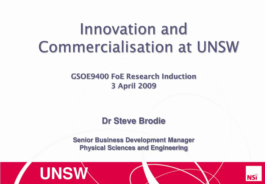 innovation and commercialisation at unsw l.