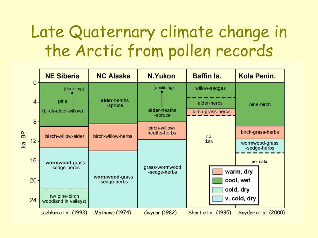 Late Quaternary climate change in the Arctic from pollen records