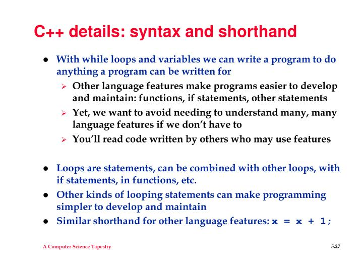 C++ details: syntax and shorthand