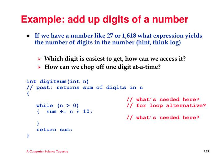 Example: add up digits of a number