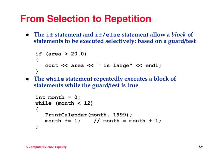 From Selection to Repetition