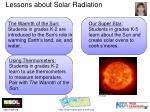 lessons about solar radiation