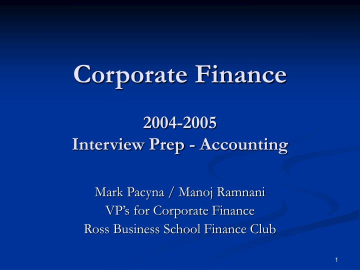 corporate finance 2004 2005 interview prep accounting n.