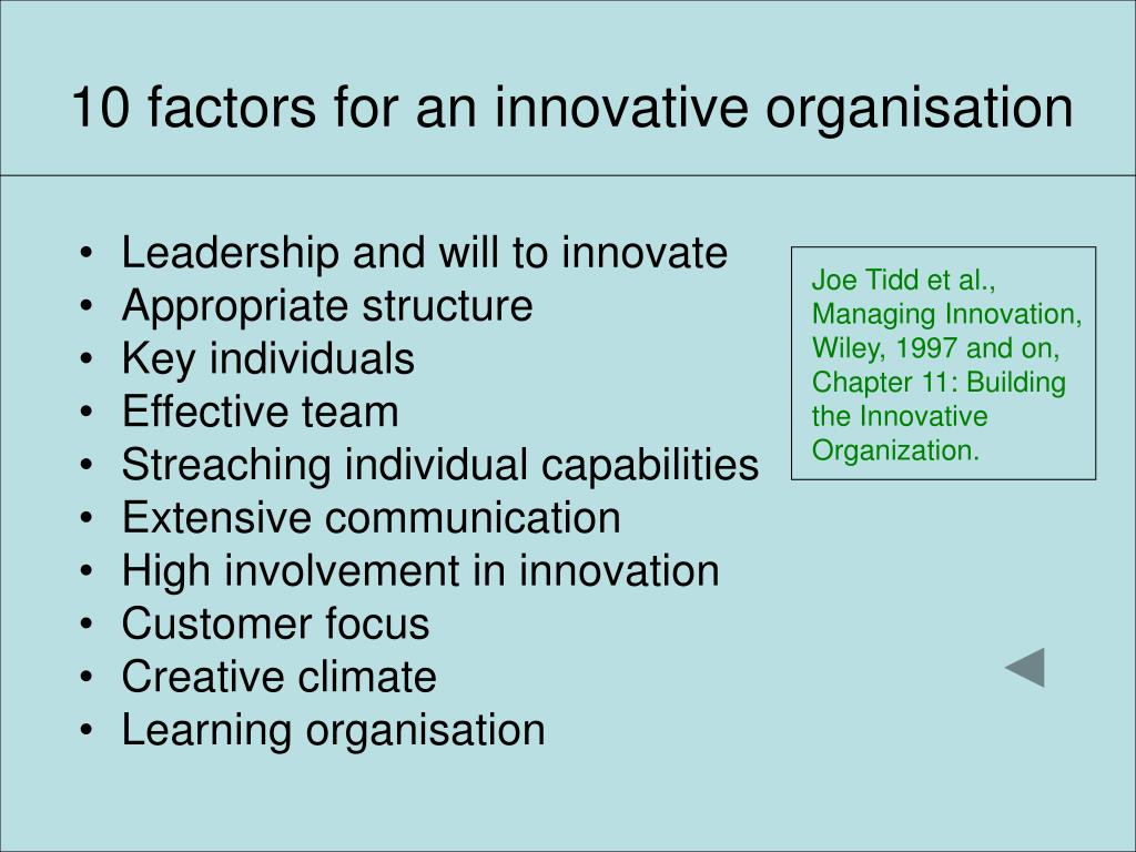 10 factors for an innovative organisation