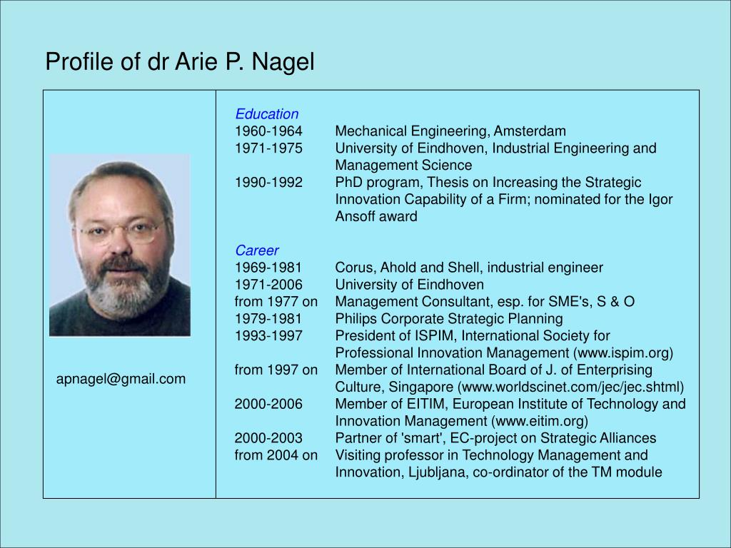 Profile of dr Arie P. Nagel