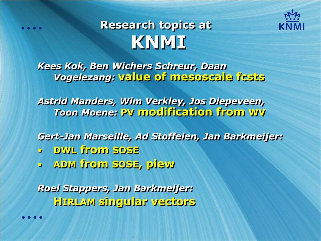 research topics at knmi l.