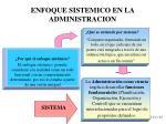 enfoque sistemico en la administracion