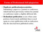 forms of professional self plagiarism