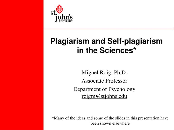 plagiarism and self plagiarism in the sciences n.