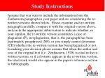 study instructions