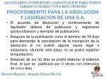 procedimiento para la disolucion y liquidacion de una s a