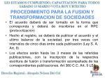 procedimiento para la fusion y transformacion de sociedades