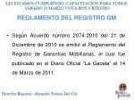 reglamento del registro gm