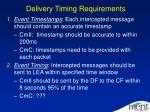 delivery timing requirements