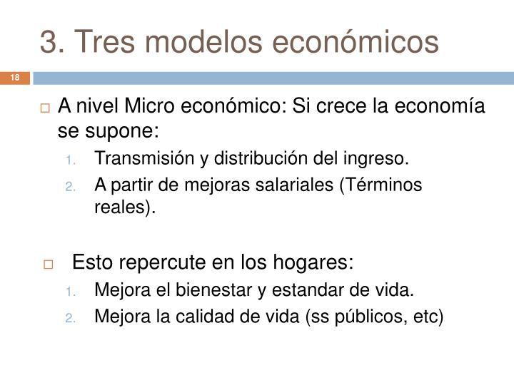 3. Tres modelos económicos