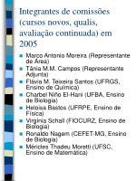 integrantes de comiss es cursos novos qualis avalia o continuada em 2005