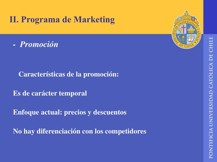 II. Programa de Marketing